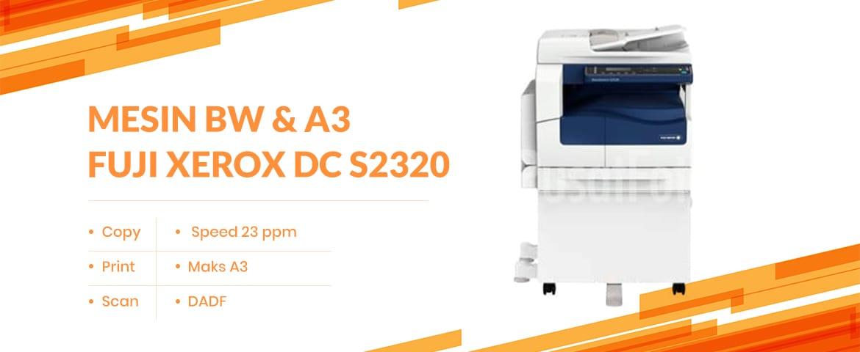 Banner mesin fotocopy Fuji Xerox DC S2320 dengan artikel cara mengatur mesin fotocopy untuk scan dokumen